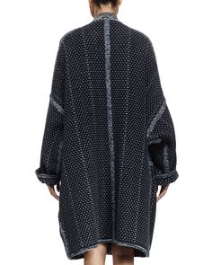 Chloe Oversized Tweed Sweater Coat & Long-Sleeve Tile-Print Tiered ...