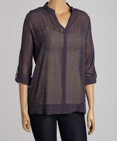Look what I found on #zulily! Charcoal Stud Notch Neck Top - Plus by Design 26 #zulilyfinds
