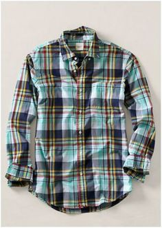 21269aa2179 Men s Large Plaid Poplin Shirt from Lands  End Canvas