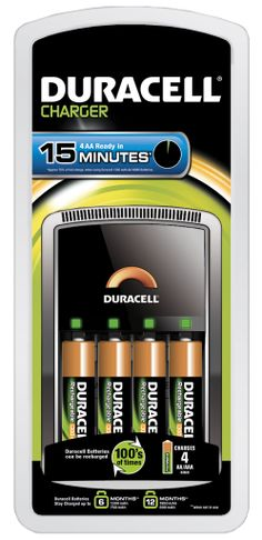 CEF15UK Duracell Ultra Fast 15 Minute Battery Charger with 4 AA Rechargeable Batteries - http://www.duracelldirect.co.uk/pno/cef15uk.html
