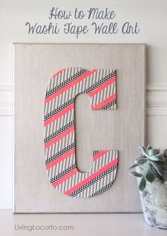 #RAOK How to make washi tape wall art. Easy craft idea by Amy at LivingLocurto.com