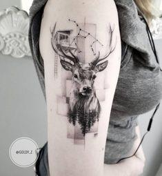 Deer tattoo art by Zlata Kolomoyskaya #TattooIdeasShoulder