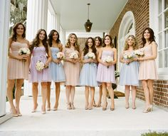 Pastel bridesmaid dresses from Ivy & Aster.  Photo by A Bryan Photo.