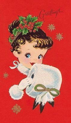 Christmas lass. Christmas Card Images, Vintage Christmas Images, Retro Christmas, Vintage Holiday, Christmas Deco, Christmas Pictures, Christmas Girls, Vintage Winter, Christmas 2017