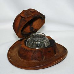 Carved wooden hat inkwell