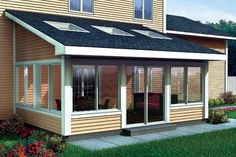 Shed Roof Sun Room Addition  For Two-Story Homes @ Family Home Plans