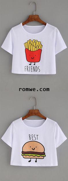 White Hamburger Print Crop T-shirt