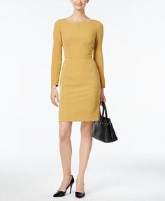 Anne Klein Faux-Leather-Trim Sheath Dress
