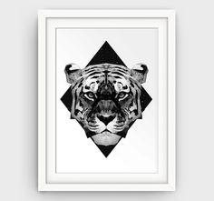 Geometric Tiger Print Black Animal Prints by GalliniDesign on Etsy