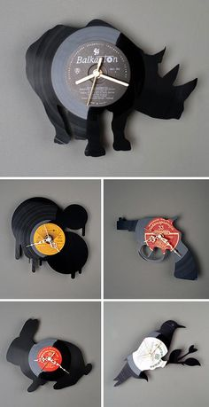 fun wall-clocks made from old LP's!