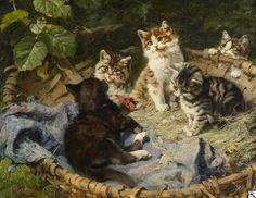 """Julius Adam II (German, 1852-1913) - """"Fünf Kätzchen im Korb"""" (Five Kittens in a Basket) - Oil on wood"""