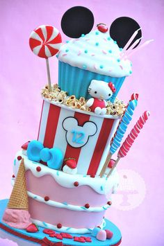 Cake, Ice Cream, Candy and Popcorn Cake with mickey and hello kitty Cake Topper Tutorial, Cake Toppers, Fondant Cakes, Cupcake Cakes, Sweets Cake, Torta Hello Kitty, Popcorn Cake, Movie Popcorn, Candy Popcorn
