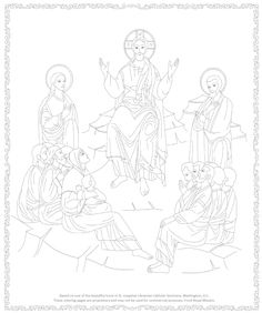 Byzantine Icon Coloring page, The Sermon on the Mount found in the chapel of St. Josephat Ukrainian Catholic Seminary.