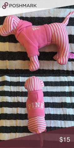 Victoria Secret PINK dog. Victoria Secret PINK dog. Pink and white stripped with a pink hoodie. PINK Other