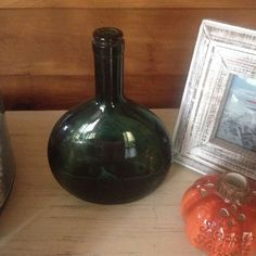 VINTAGE GREEN TINTED GLASS COLLECTIBLE WINE BOTTLE / JUG  | eBay