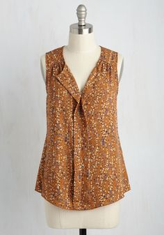 Isle Be Seeing You Floral Top in Botanical - Multi, Floral, Work, Darling, Sleeveless, Summer, Good, Exclusives, Variation, V Neck, Orange, Woven, Mid-length, Ruffles, Casual, Boho, Rustic, Best Seller, Best Seller