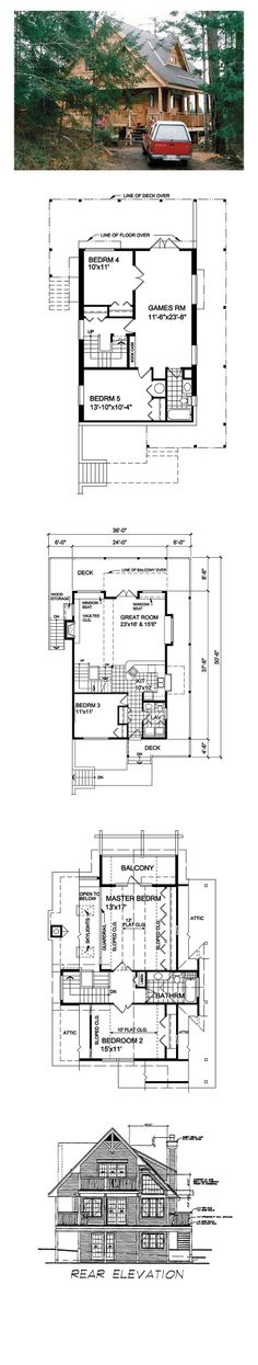 House Plan 76004 - Country, Narrow Lot Style House Plan with 1550 Sq Ft, 3 Bed, 2 Bath Next At Home, First Home, Second Story Addition, Hillside House, Lakefront Homes, Blue Prints, Log Homes, Architecture Details, Cabins