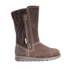 Dark brown faux suede winter boot with a cable knit back trim and faux wool interior.