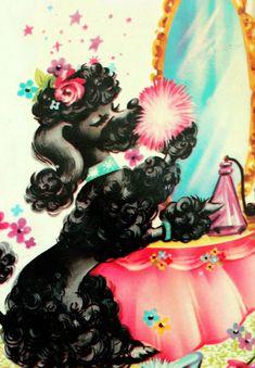 glam black poodle - 1950's