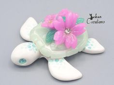Ooak crystal flower turtle whimsical clay sculpture polymer