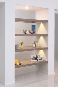 Wall to wall shelving in Vic Ash with LED strip lighting