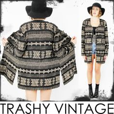 vtg 80s 90s boho gypsy ETHNIC TRIBAL scarf draped KIMONO swing cape jacket S/M/L $48.00