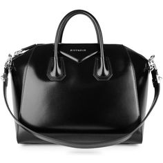 Givenchy Antigona medium black glossed leather tote ($1,910) ❤ liked on Polyvore featuring bags, handbags, tote bags, zip tote bag, tote purses, givenchy handbags, zippered tote bag and tote handbags