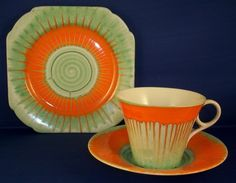 Stunning Harmony Regent Trio in Green & Orange Dripware.  Stamped with regd 781613 (cup only) and W12127.