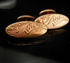 Victorian Wedding Cufflinks Elegant Rose Gold by NeatstuffAntiques