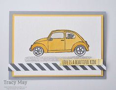 Quick and easy water colouring with Beautiful Ride from Stampin' Up! A clean and simple card for #GDP025, UK Demonstrator, Tracy May