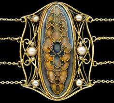 HUGO LUNDSTEDT  Art Nouveau Choker   Gold Enamel Pearl      Swedish, 1915