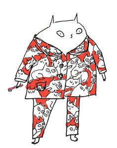 2012 Cat's Pajamas by jamieshelman Illustrations, Illustration Art, Art Mignon, Photo Chat, Cute Doodles, Cat Drawing, Cat Art, Cartoon Art, Art Inspo