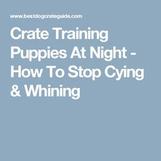 Crate Training Puppies At Night - How To Stop Cying & Whining