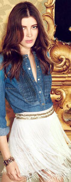 Denim and jeans / karen cox.  denim shirt and white feather skirt Elisabetta Franchi | LBV ♥✤ | KeepSmiling | BeStayElegant