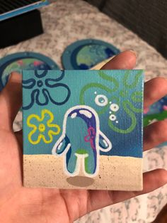 Small Canvas Paintings, Easy Canvas Art, Small Canvas Art, Cute Paintings, Mini Canvas Art, Easy Canvas Painting, Spongebob Painting, Cartoon Painting, Hippie Painting