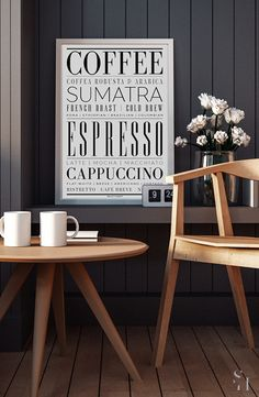 Style your kitchen and dining room with beautiful typography printed on a beautiful and thick matte canvas.  Make a statement in your kitchen and bar with this typography art print that explores different types of coffee and espresso. This art print is printed on a thick matte canvas, so styling options are limitless! Explore more >