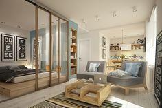 sala e quarto integrados apartamento de 32 m2 kitnet