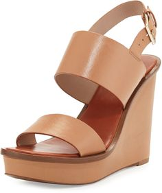 Tory Burch Lexington Leather Wedge Sandal, Natural Blush