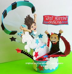 Customized skydiving Wedding or engagement Cake topper/ Look alike