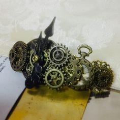 NEW/160926 時計の文字盤と懐中時計のバレッタno.19/スチームパンク