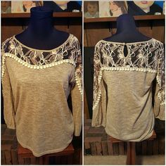 Gorgeous anthropologie a'reve top Brownish tan a'reve top with lacy floral shoulders , sleeves , chest and back panel. Top is super soft with keyhole back button closure. Material 50% polyester 50% rayon. New without tags Anthropologie Tops Blouses