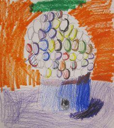 shine brite zamorano: 1st grade art lesson  Machine and background=Primary colors Gumballs=Secondary colors