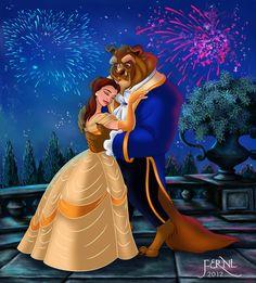 Bella a Adam ( Zviera ) Disney Fan Art, Disney Love, Disney Magic, Disney Pixar, Disney Stuff, Walt Disney, Beauty And The Beast Art, Belle And Beast, Disney Couples