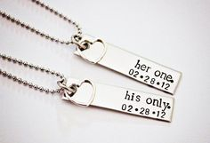 Her One His Only WITH DATE Couples Hand Stamped Necklace set by StampedMemoriesbyMel, $54.00