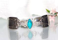 Vintage Spoon Bracelet Turquoise Bracelet Silverware by mcfmiller, $50.00