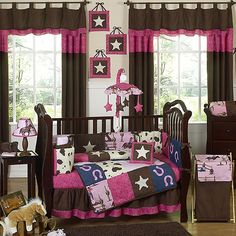 Sweet Jojo Designs Cowgirl western baby bedding ensemble will help your little girl kick up her heels and drift off to dreamland like a real cowgirl. This striking baby bedding set uses a collection of exclusive Sweet Jojo Designs Prints. Western Baby Bedding, Western Crib, Western Baby Girls, Baby Girl Crib Bedding, Nursery Crib, Baby Bedding Sets, Crib Sets, Baby Cribs, Western Nursery