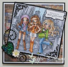 Galleries :: Design Team Inspiration :: Friends & Family :: Teenage Girls :: Inspiration Gallery :: Return to previous page :: Felicity and Friends - Digital & Rubber Stamps for Every Scene - Make it Crafty