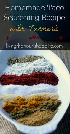 Homemade taco seasoning recipe with turmeric - at livingthenourishedlife.com: