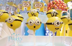 Cake pops at a Despicable Me Minions baby shower birthday party! See more party planning ideas at CatchMyParty.com!