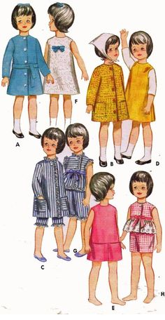 Vintage Doll Clothes PATTERN 3350 for 9.5 inch Skipper Pepper by Mattel & Ideal